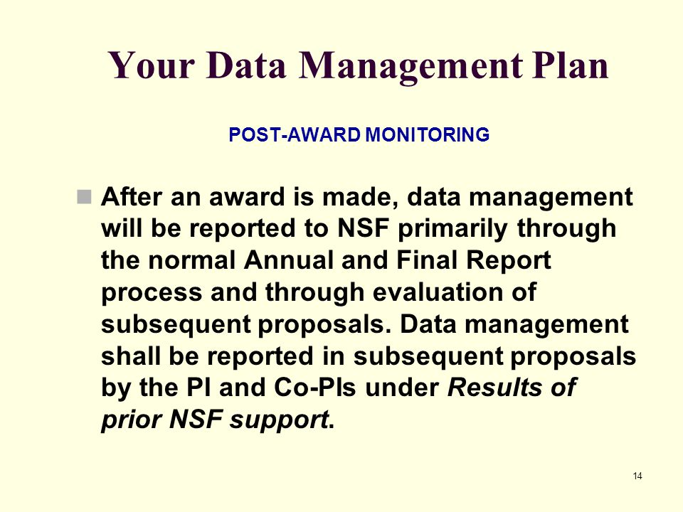 Your Data Management Plan