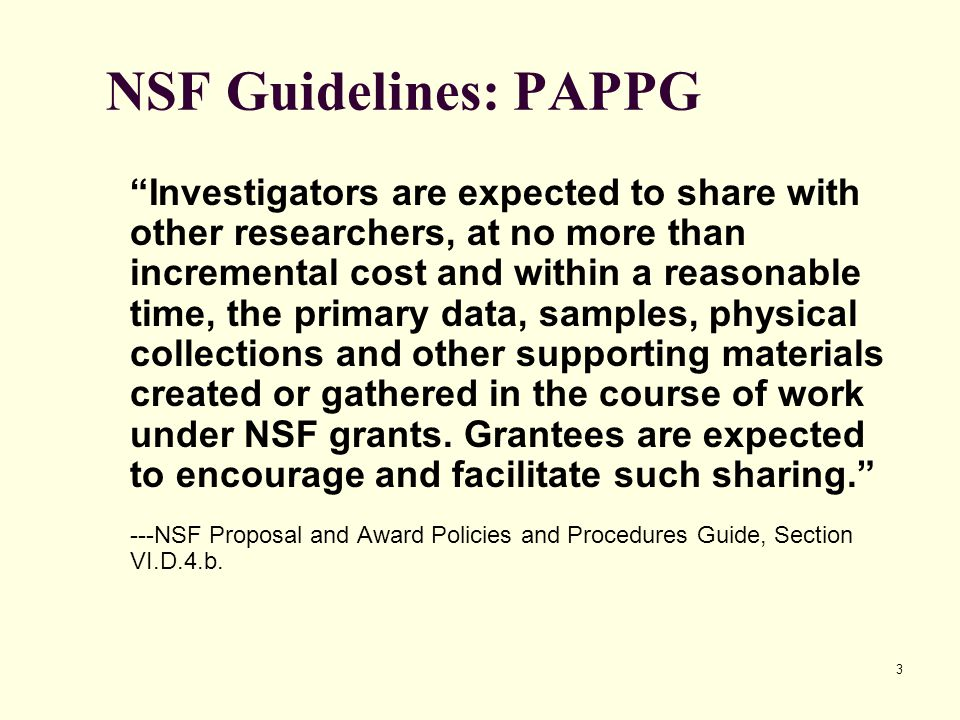 NSF Guidelines: PAPPG