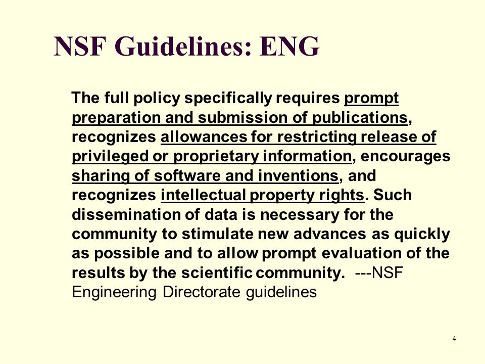 NSF Guidelines: ENG