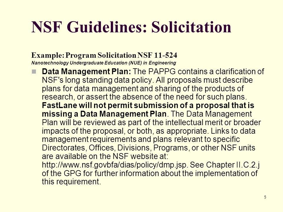 NSF Guidelines: Solicitation