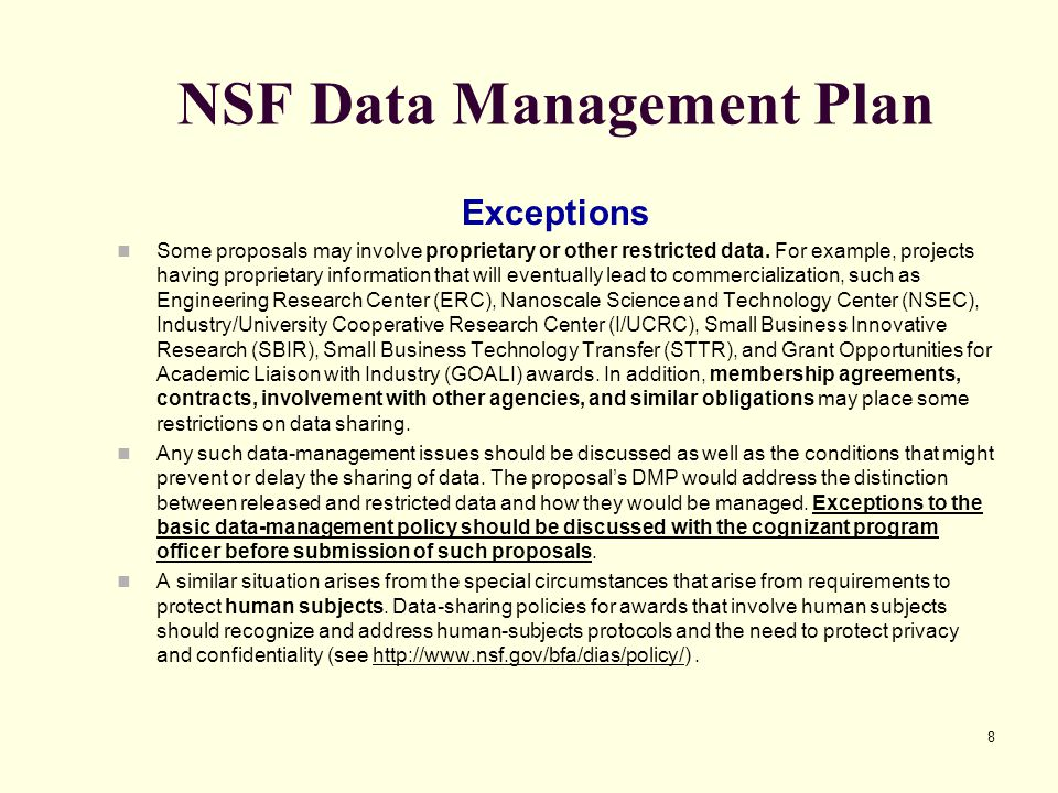 Data Management Policy Template NSF Data Management Plan Ppt Download