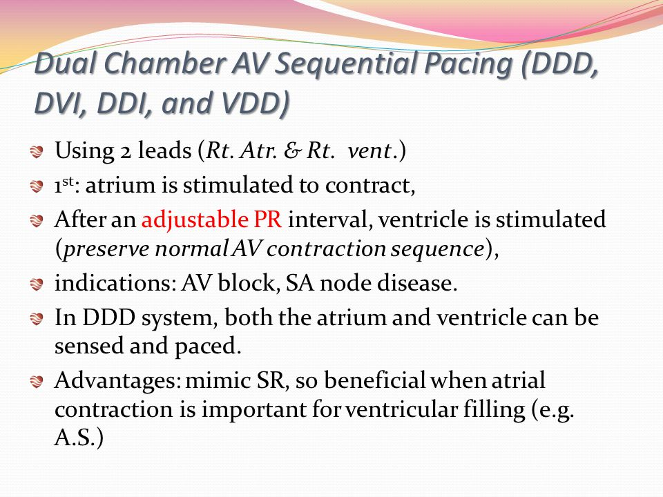 Dual Chamber AV Sequential Pacing (DDD, DVI, DDI, and VDD)