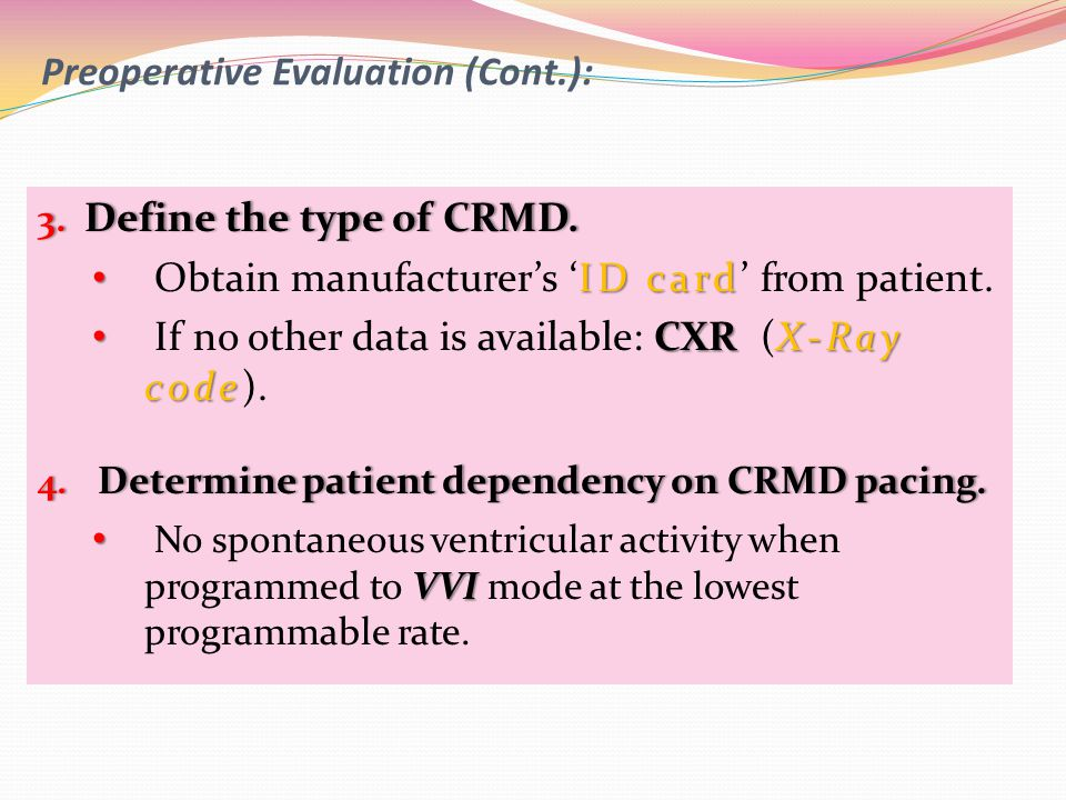 Preoperative Evaluation (Cont.):