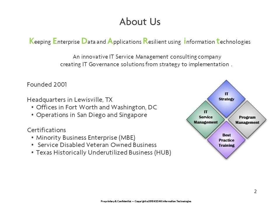 About Us Keeping Enterprise Data and Applications Resilient using information technologies.