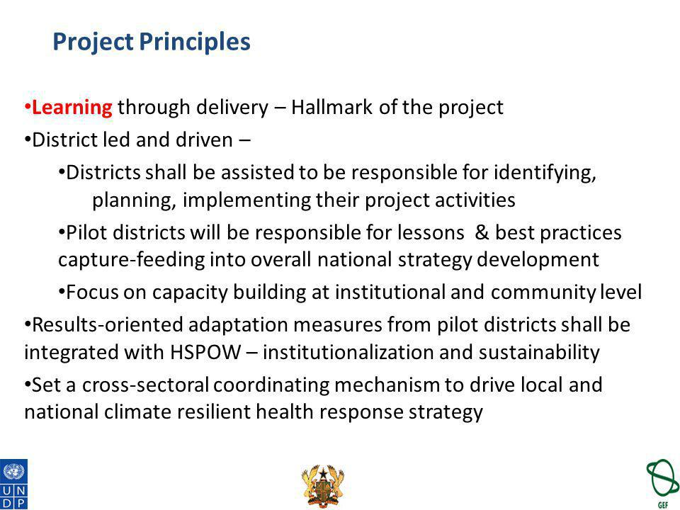 Project Principles Learning through delivery – Hallmark of the project