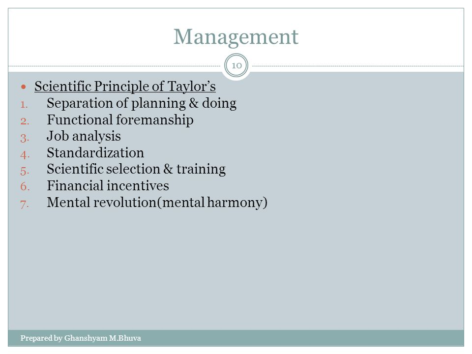 Management Scientific Principle of Taylor's