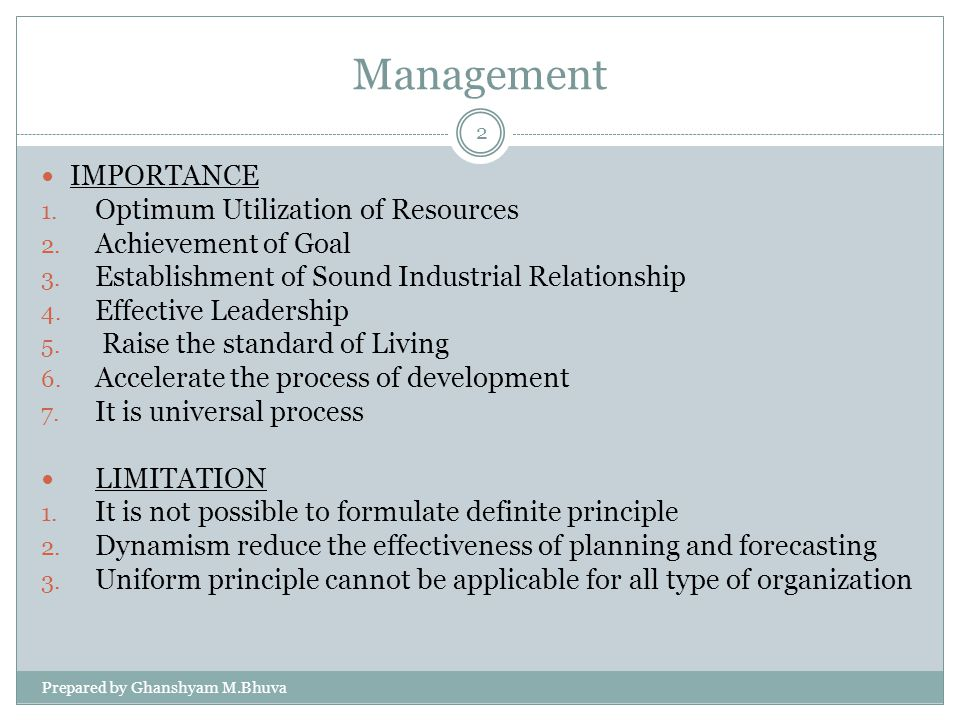 Management IMPORTANCE Optimum Utilization of Resources