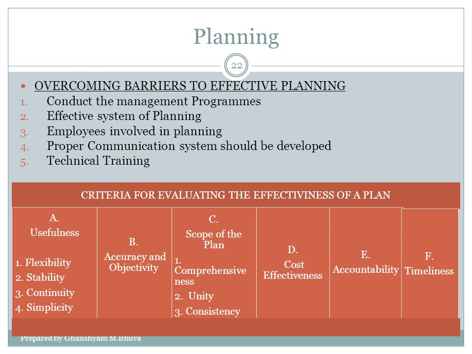 Planning OVERCOMING BARRIERS TO EFFECTIVE PLANNING