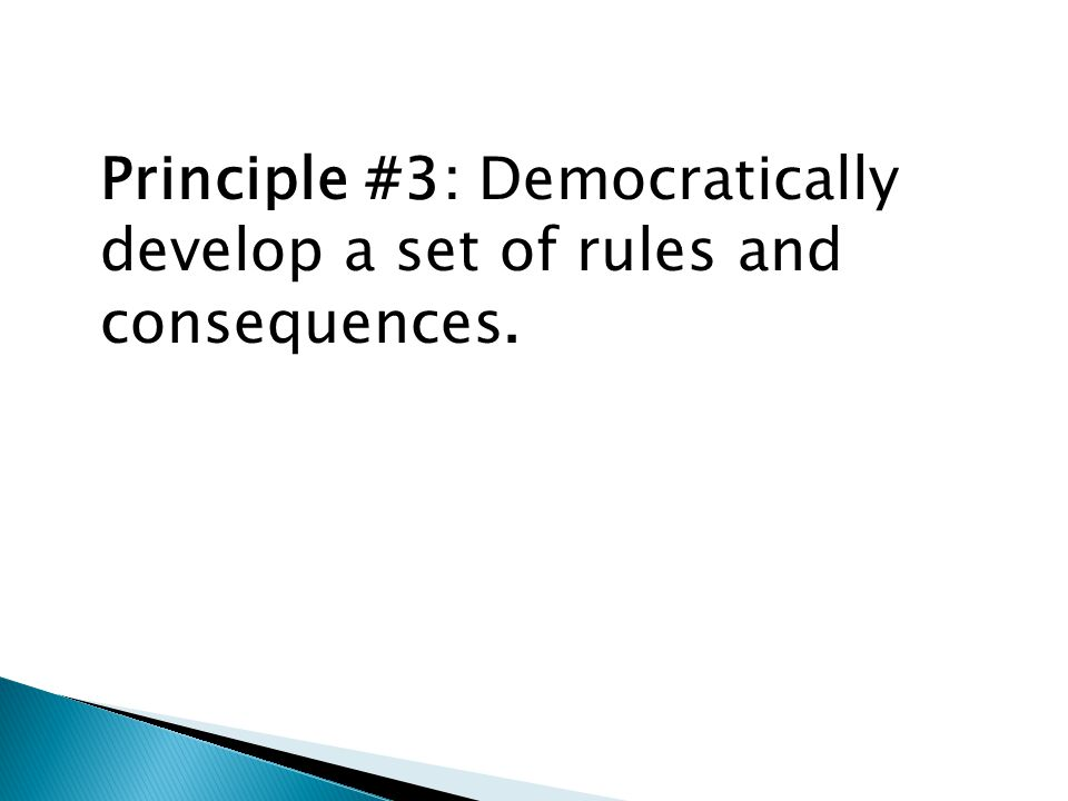Principle #3: Democratically develop a set of rules and consequences.