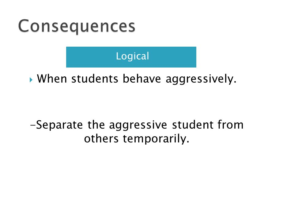 Consequences When students behave aggressively.