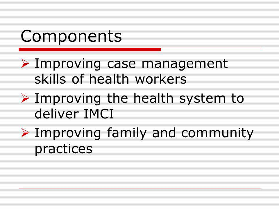 Components Improving case management skills of health workers