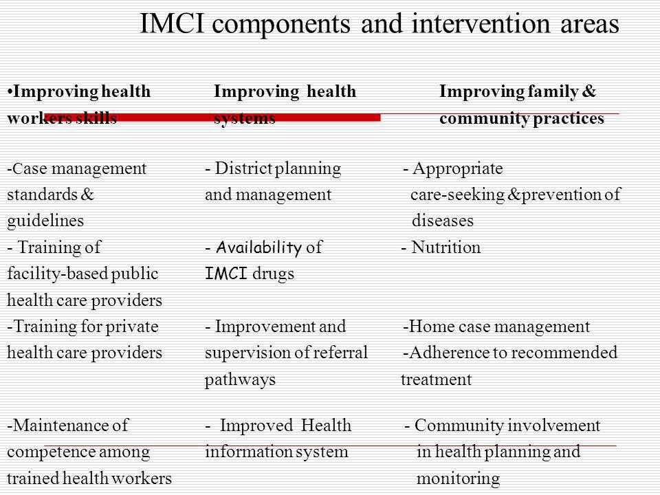 IMCI components and intervention areas