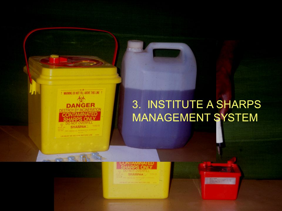Sharps Disposal 3. INSTITUTE A SHARPS MANAGEMENT SYSTEM