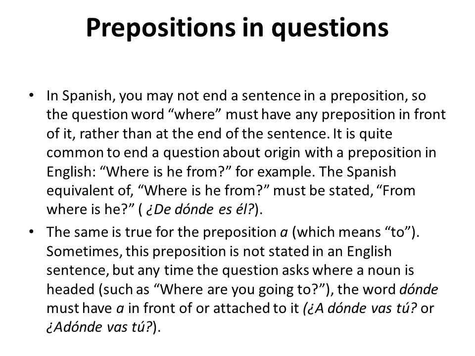 Prepositions in questions