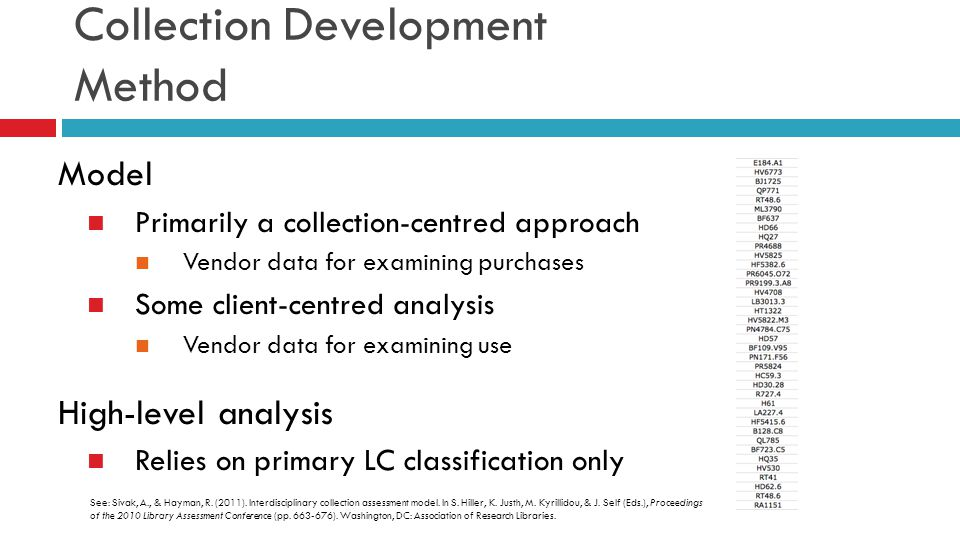 Collection Development Method