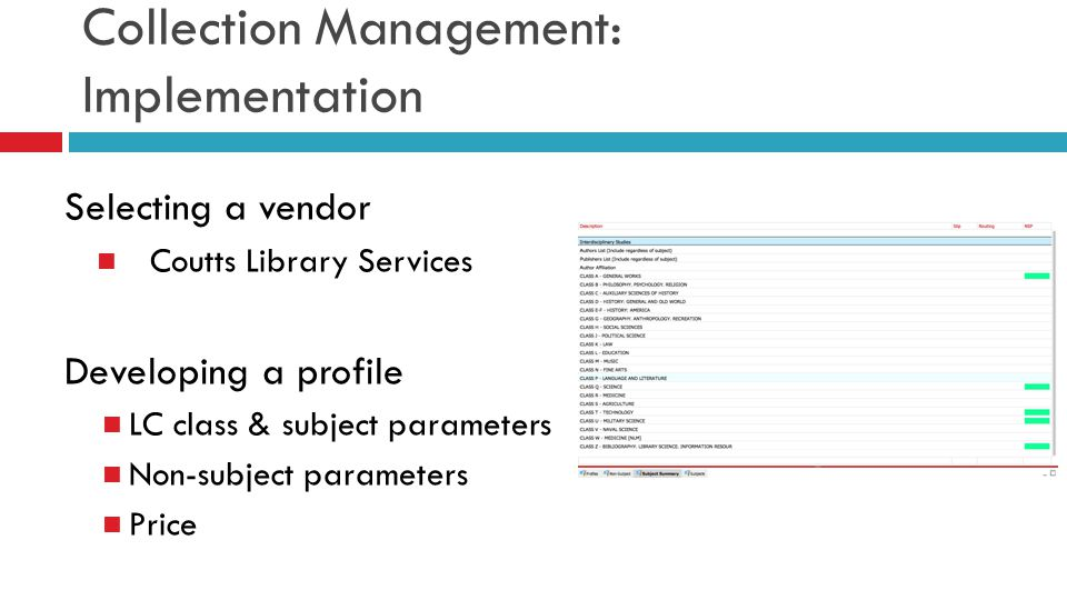 Collection Management: Implementation