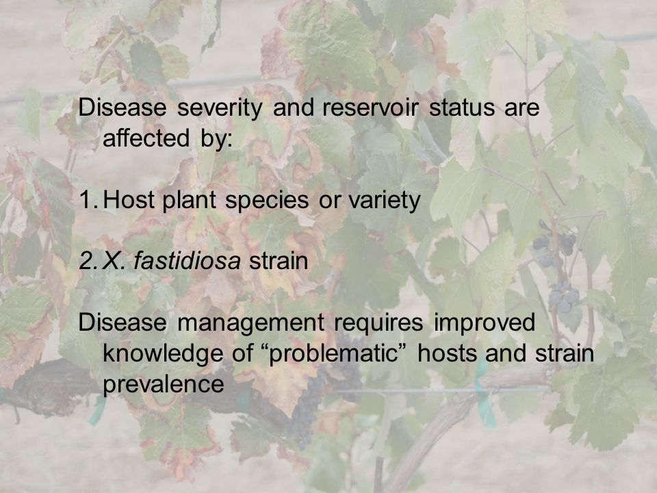 Disease severity and reservoir status are affected by: