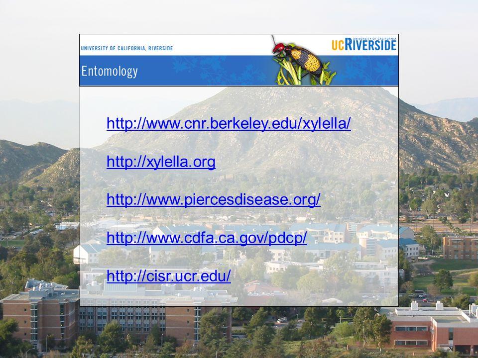 http://www.cnr.berkeley.edu/xylella/ http://xylella.org. http://www.piercesdisease.org/ http://www.cdfa.ca.gov/pdcp/