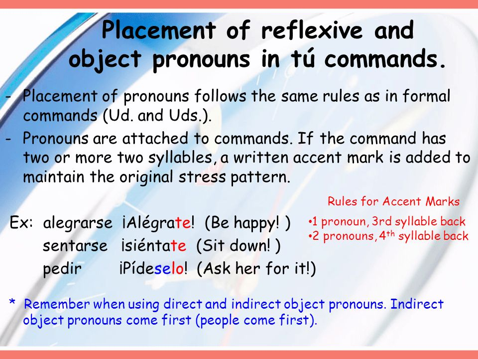 Placement of reflexive and object pronouns in tú commands.