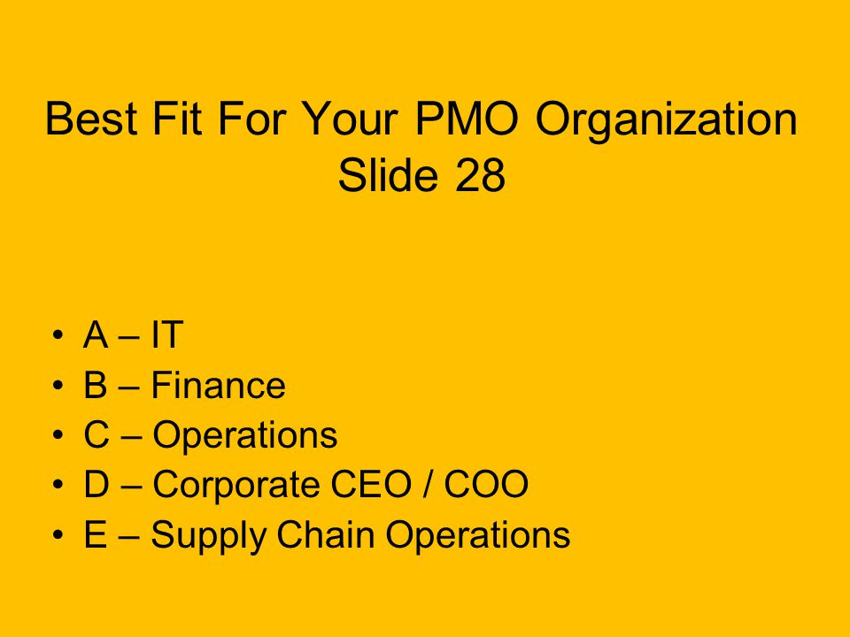 Best Fit For Your PMO Organization Slide 28