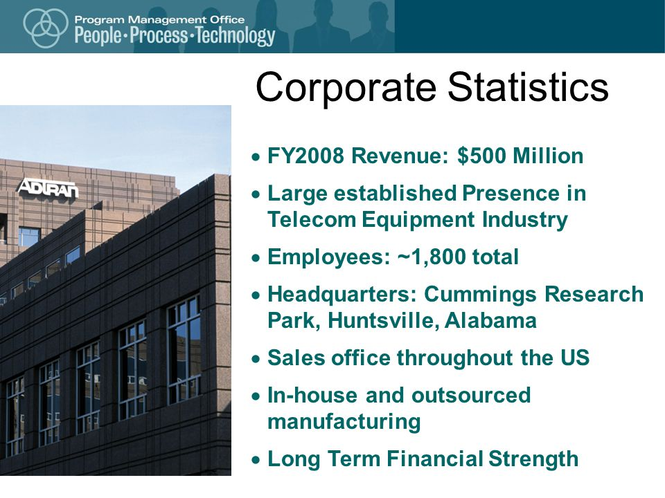 Corporate Statistics FY2008 Revenue: $500 Million