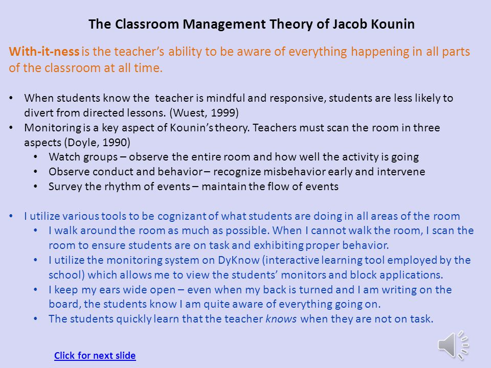 The Classroom Management Theory of Jacob Kounin