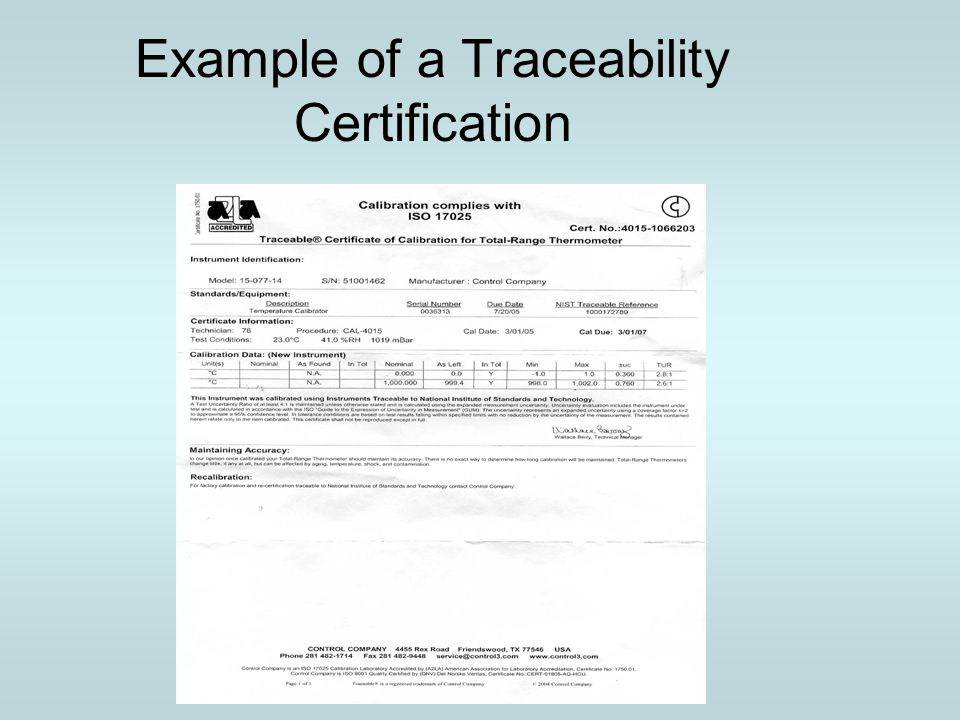 Example of a Traceability Certification