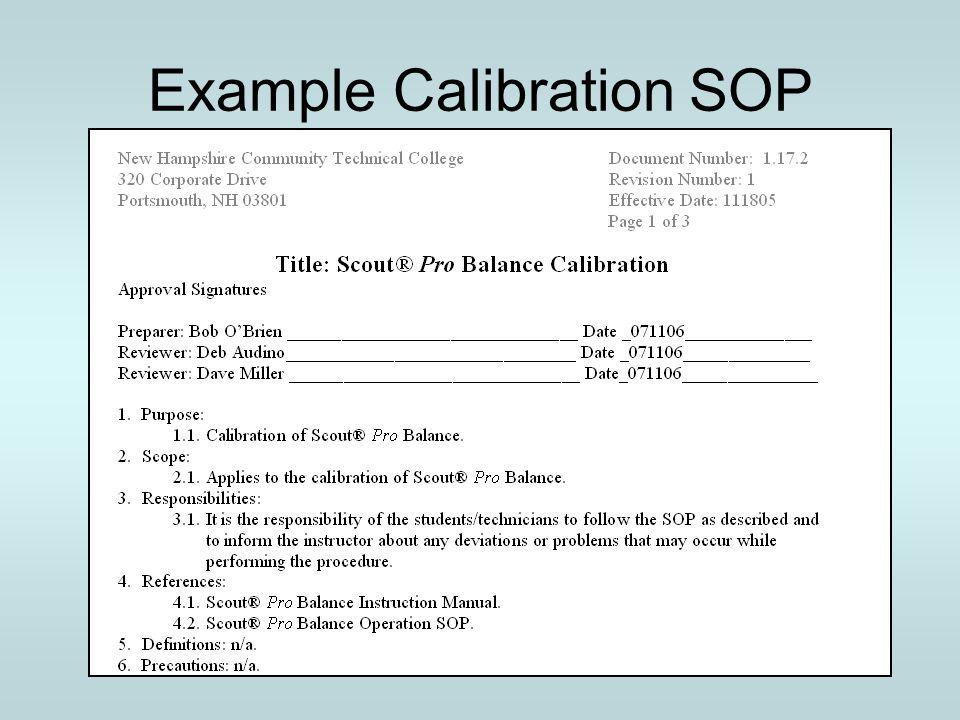 Example Calibration SOP