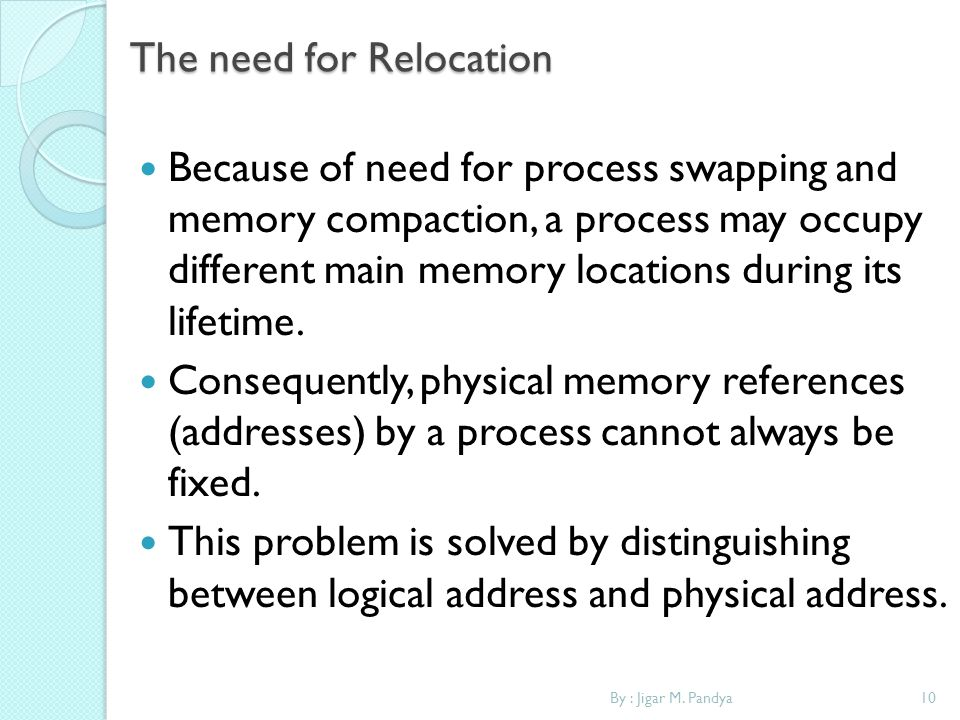 The need for Relocation