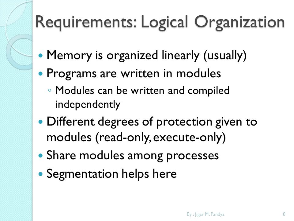Requirements: Logical Organization