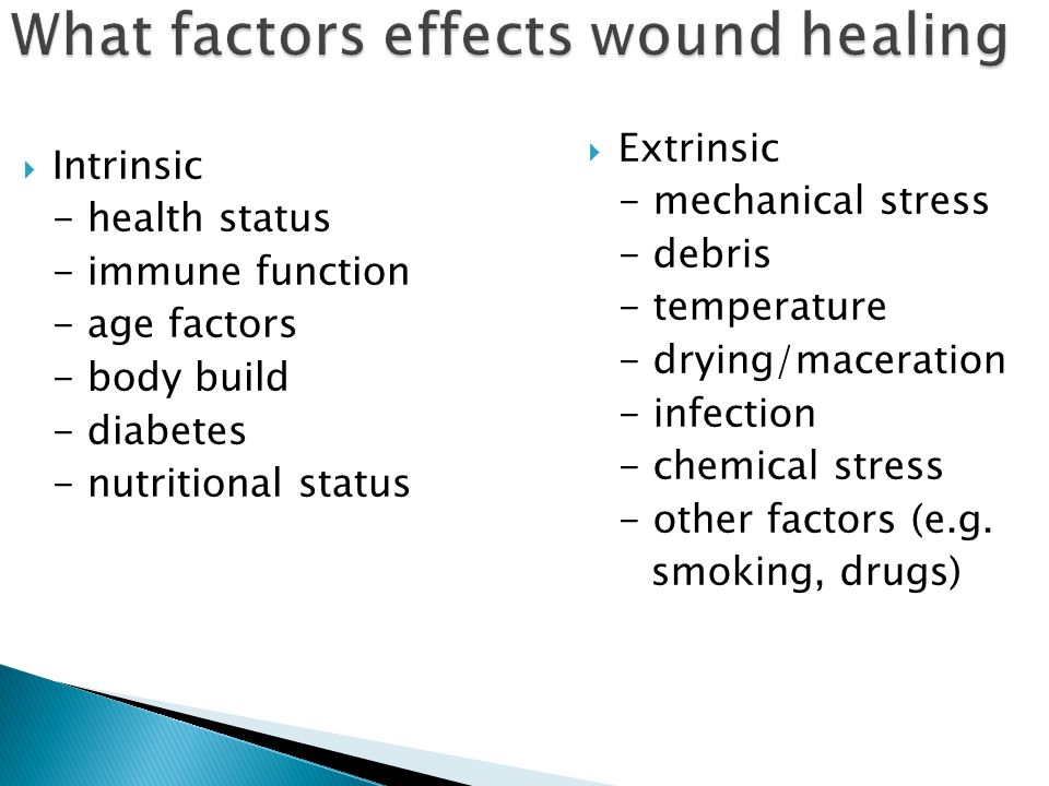What factors effects wound healing