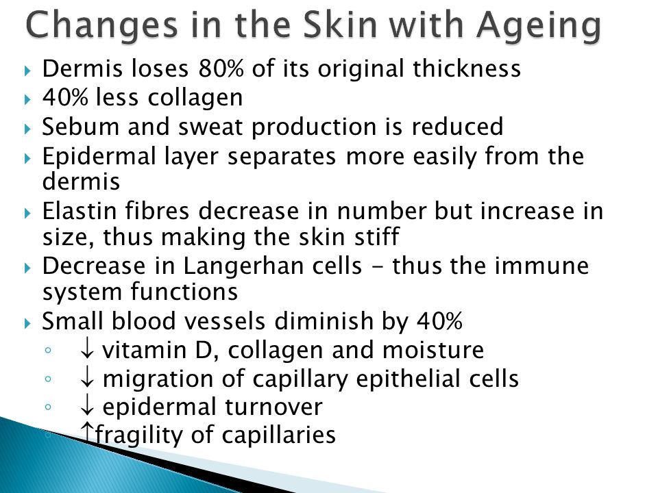 Changes in the Skin with Ageing
