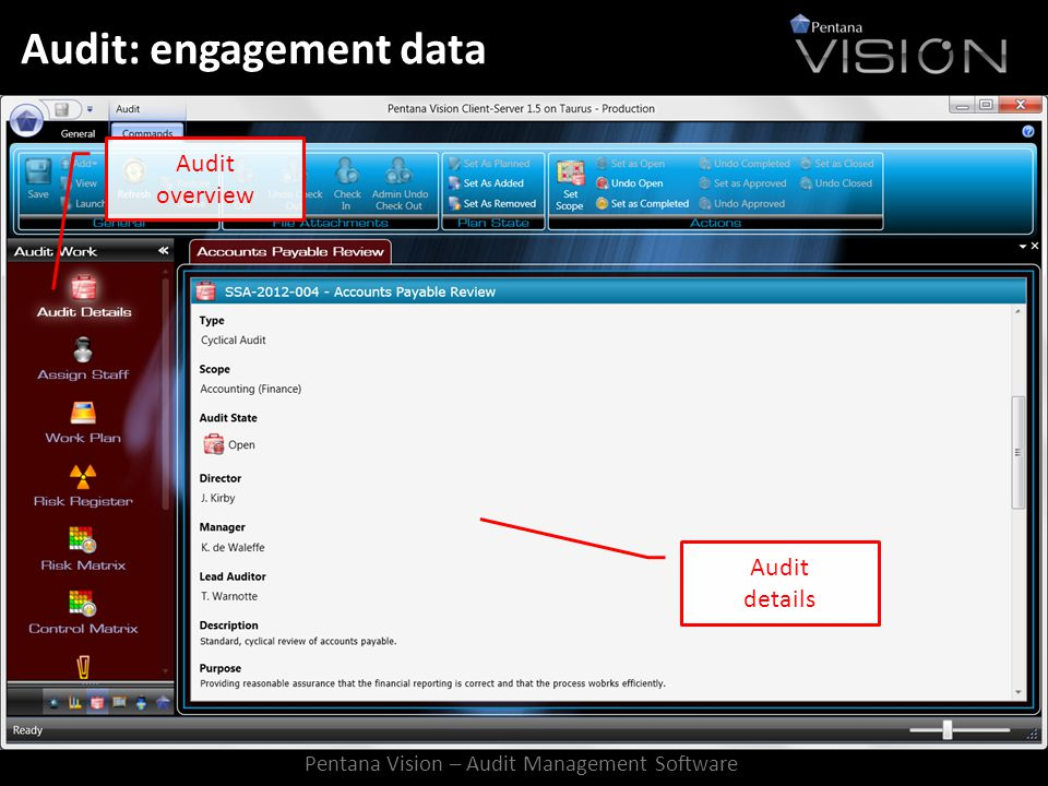 Audit: engagement data