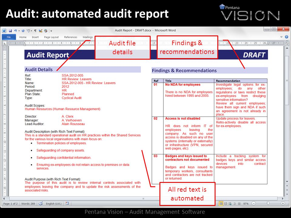 Audit: automated audit report