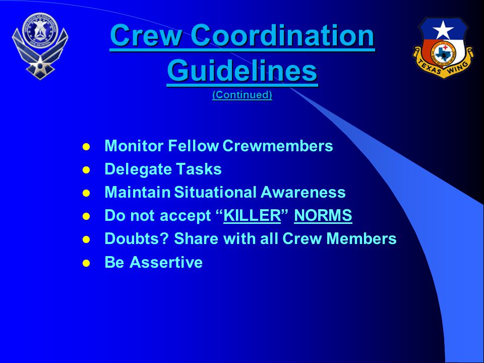 Crew Coordination Guidelines (Continued)