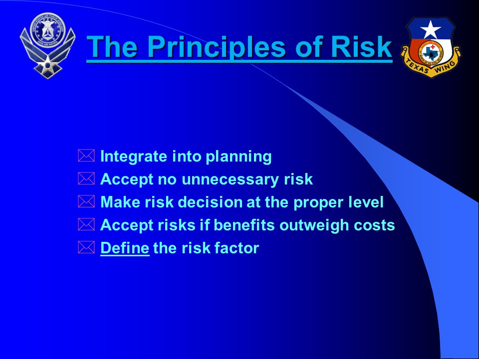 The Principles of Risk Integrate into planning
