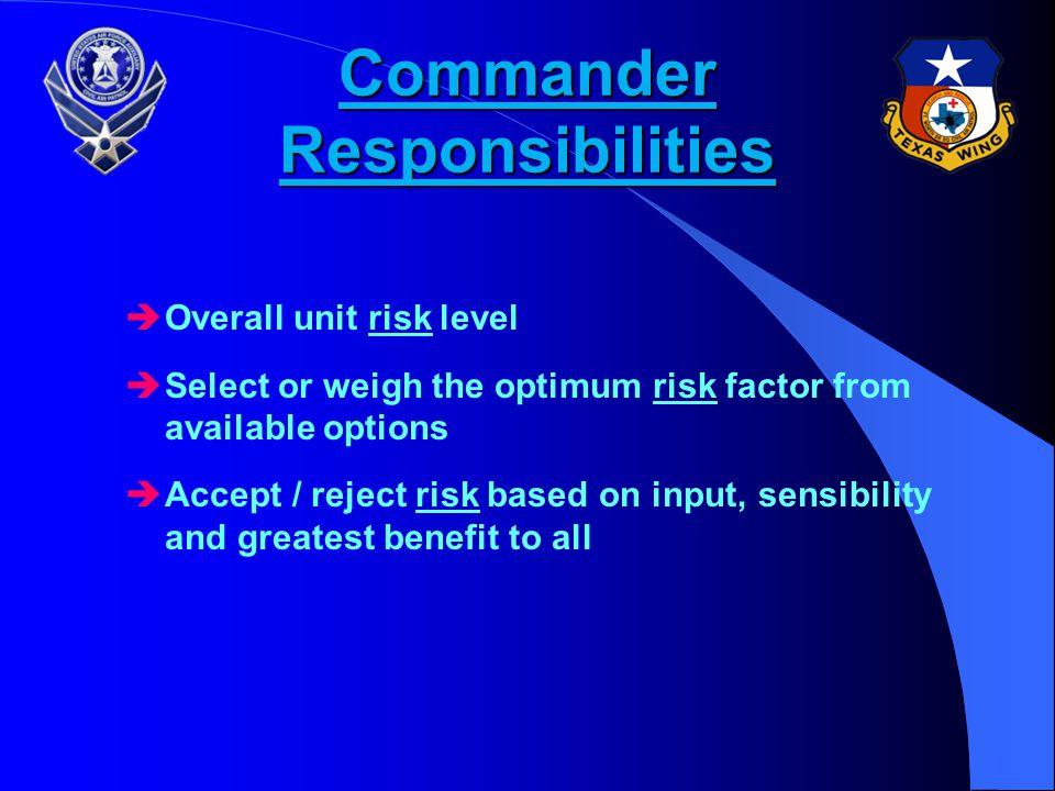 Commander Responsibilities