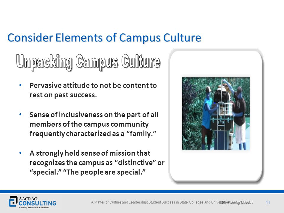 Consider Elements of Campus Culture