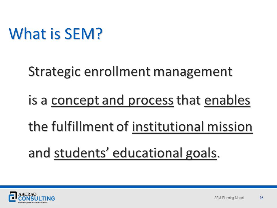 What is SEM Strategic enrollment management.