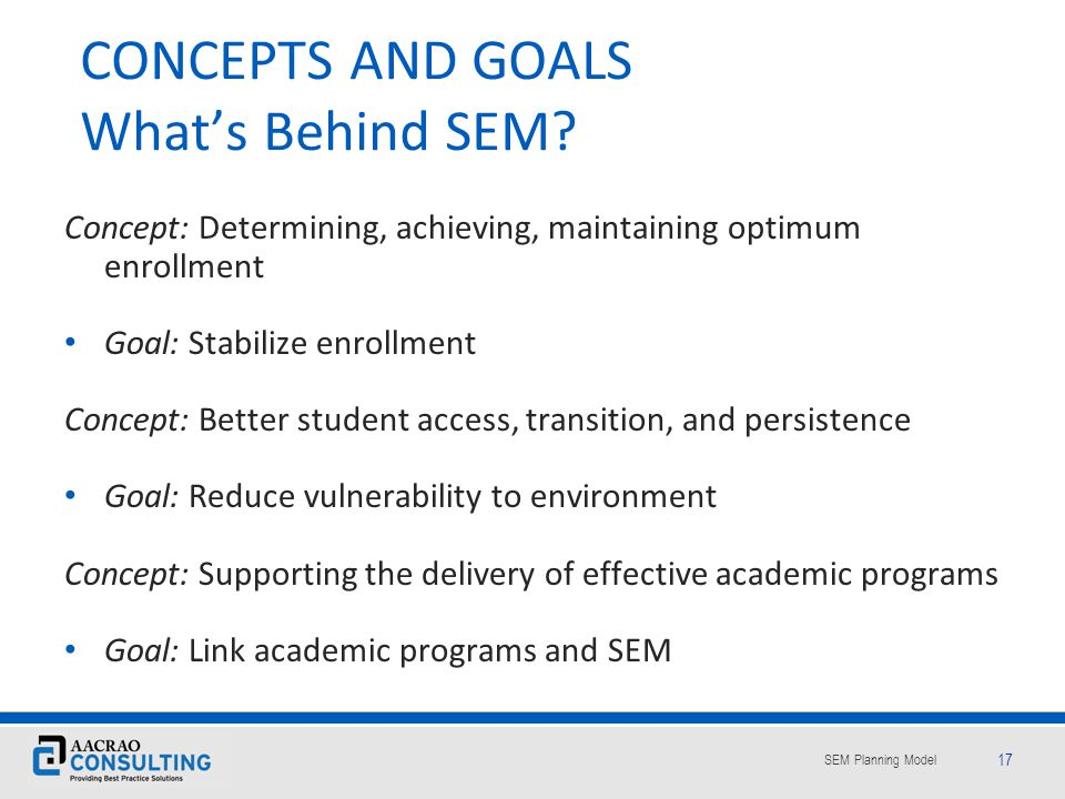 CONCEPTS AND GOALS What's Behind SEM
