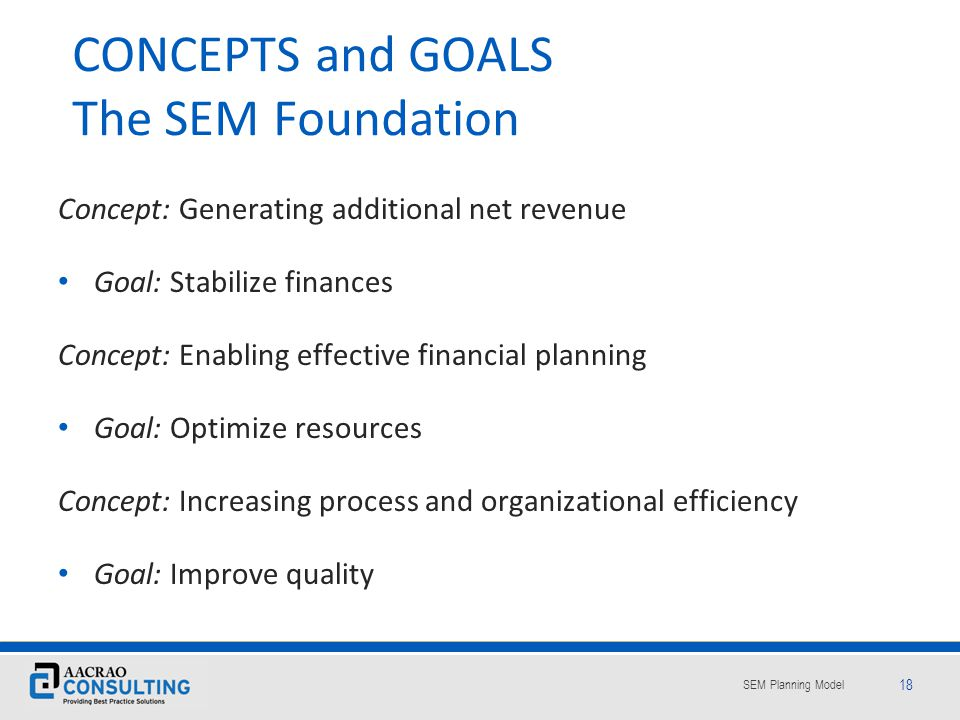 CONCEPTS and GOALS The SEM Foundation
