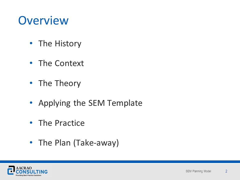 Overview The History The Context The Theory Applying the SEM Template