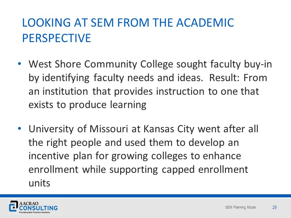 LOOKING AT SEM FROM THE ACADEMIC PERSPECTIVE
