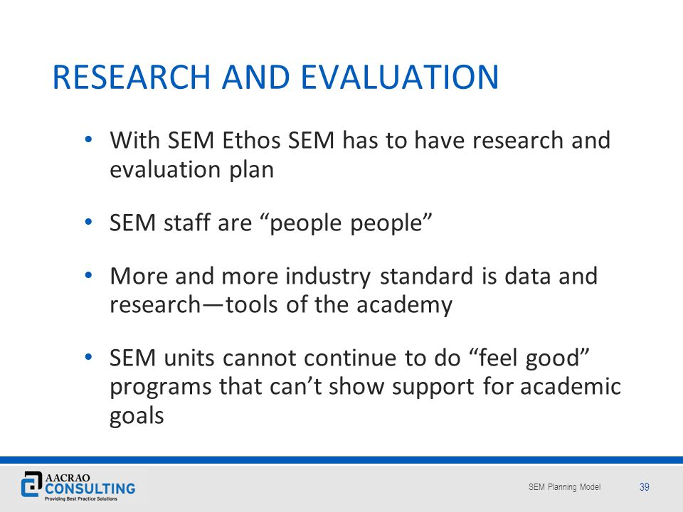 RESEARCH AND EVALUATION