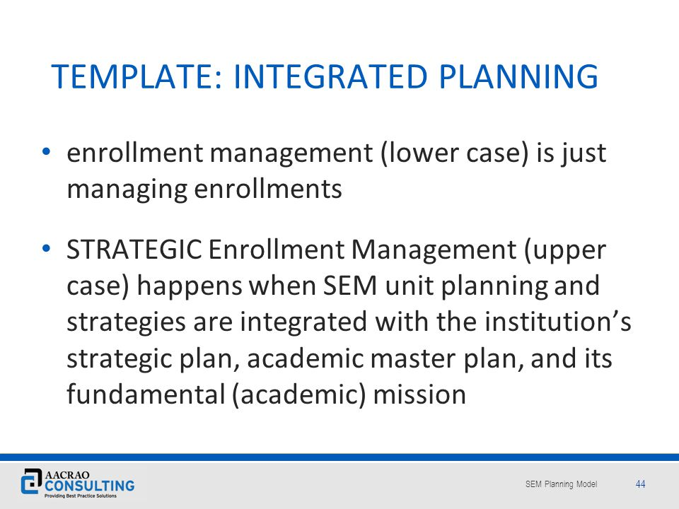 TEMPLATE: INTEGRATED PLANNING