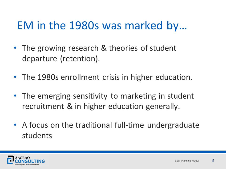 EM in the 1980s was marked by…