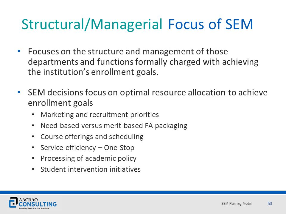 Structural/Managerial Focus of SEM