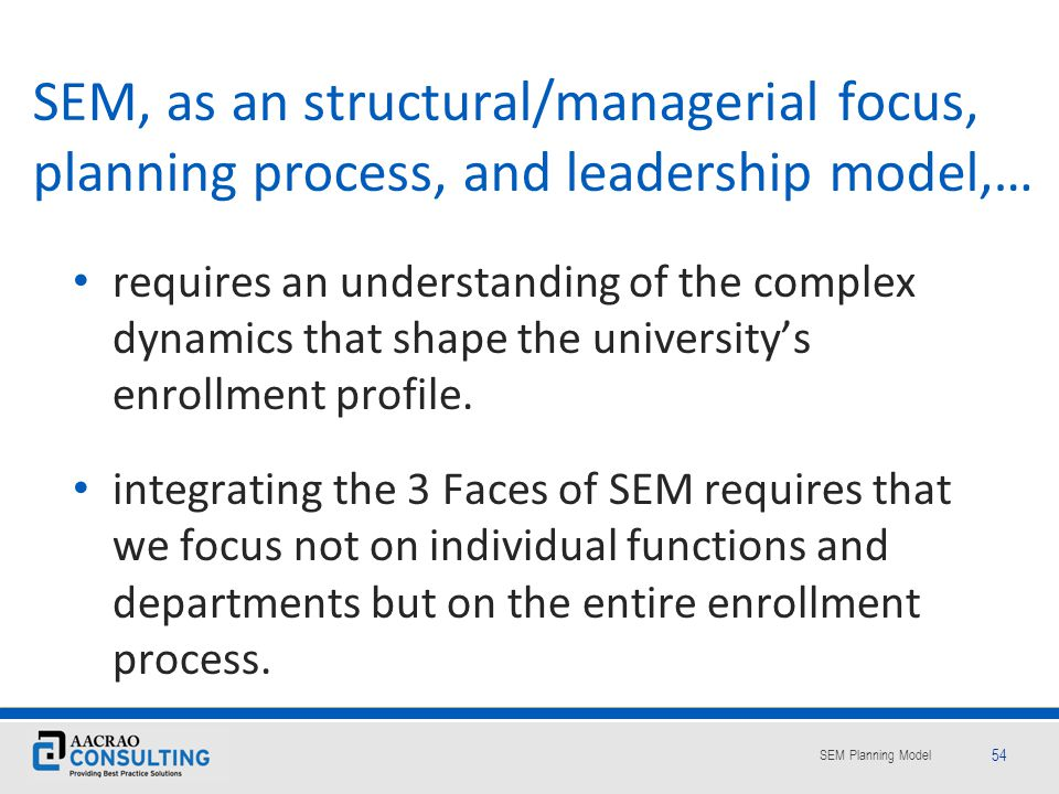 SEM, as an structural/managerial focus, planning process, and leadership model,…