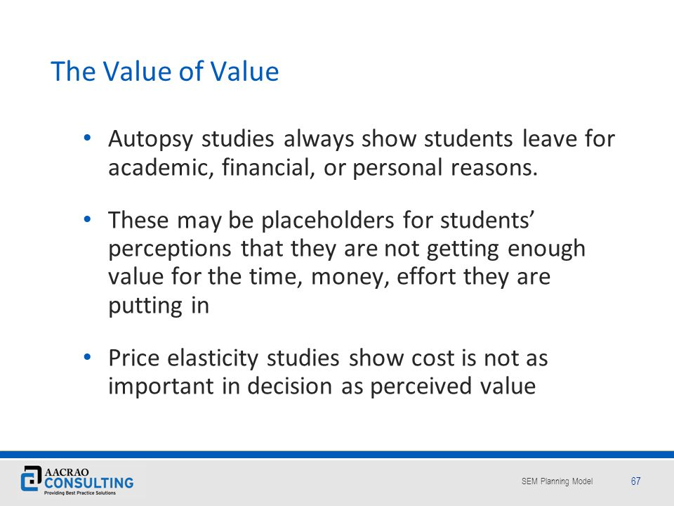The Value of Value Autopsy studies always show students leave for academic, financial, or personal reasons.