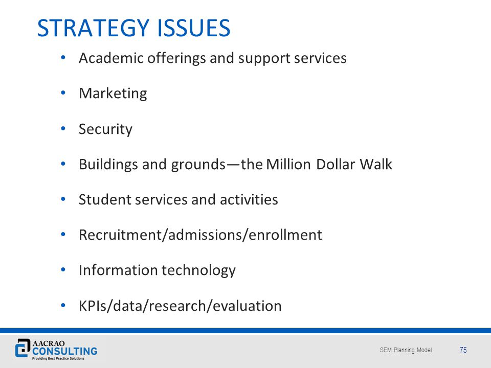 STRATEGY ISSUES Academic offerings and support services Marketing